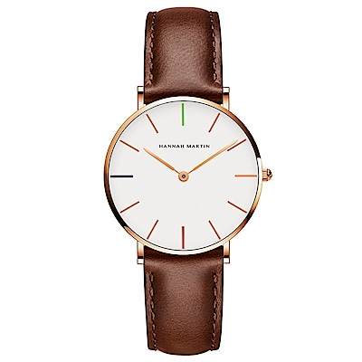 HANNAH MARTIN 彩色刻度皮帶腕錶-褐帶x36mm(HM3690-B36-FK)