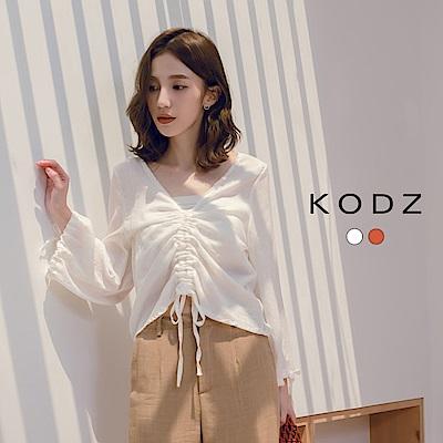 東京著衣-KODZ 慵懶清新綁帶造型大V領上衣-S.M(共兩色)