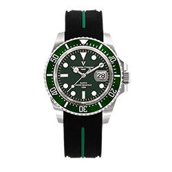 Valentino Coupeau 范倫鐵諾 古柏 陶瓷水鬼腕錶【銀色/綠面/橡膠】