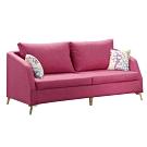 文創集 艾柏斯甜美紅棉麻布獨立筒三人座沙發椅-195x83x88m免組