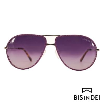 BIS IN DEI 皮革雷朋框太陽眼鏡-紫