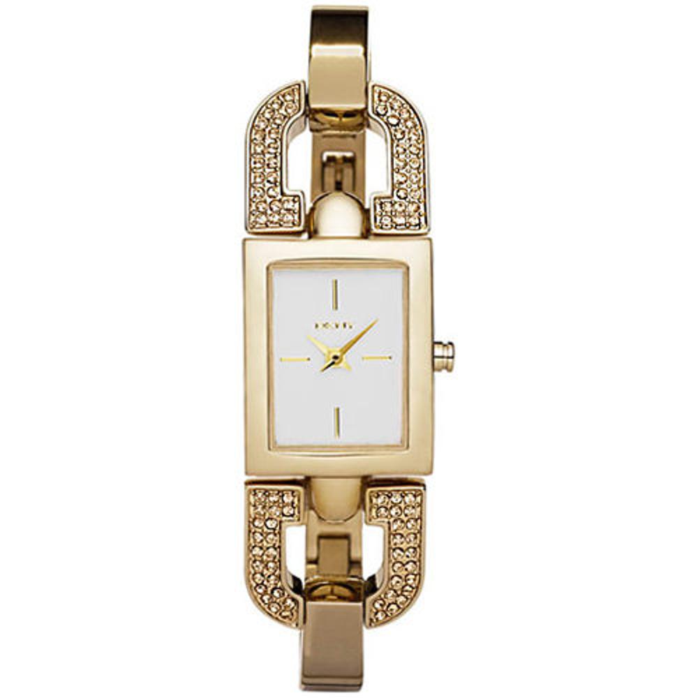 DKNY 典雅別緻迷人晶鑽時尚腕錶-金-24mm