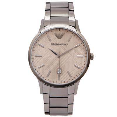 ARMANI 玩弄線條風鐵灰色手錶(AR11120)-棕色面X鐵灰/43mm