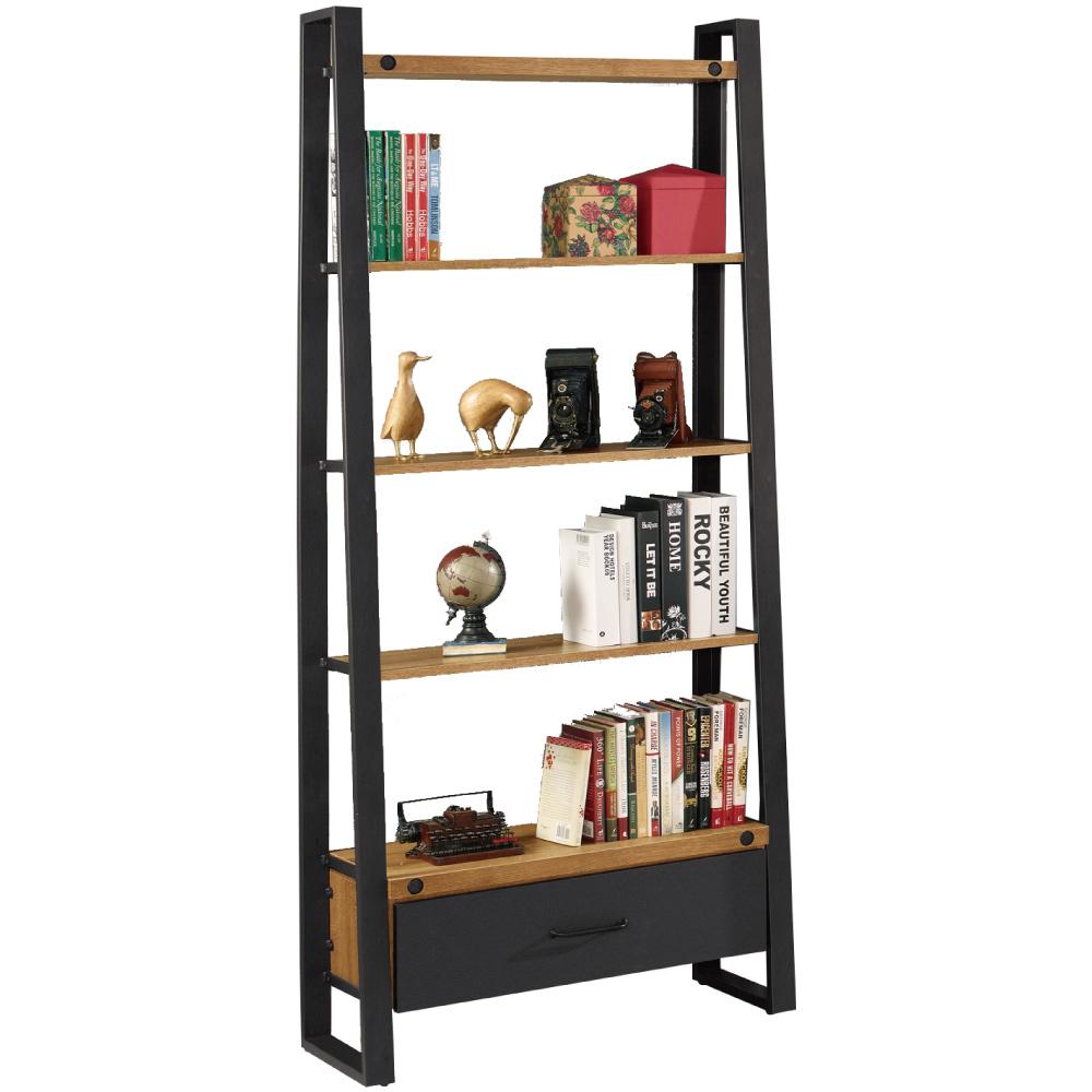 文創集 亞森時尚2.7尺開放式單抽書櫃/收納櫃-80x35x195cm免組