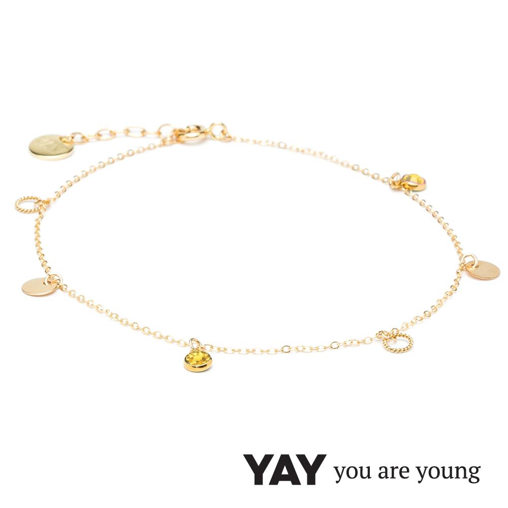 YAY You Are Young 法國品牌 Sultane 黃水晶腳鍊 金色