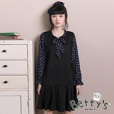 betty's貝蒂思 氣質綁結雪紡拚接魚尾洋裝(黑色)