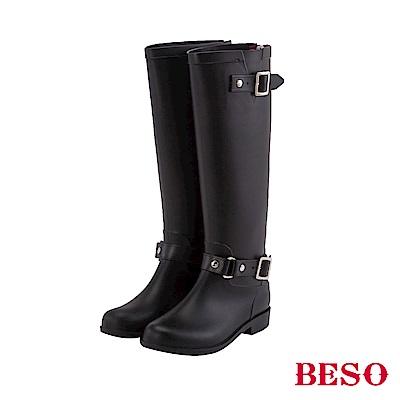 BESO 潮人街頭風 素面雙釦帶顯瘦霧面長筒雨靴~黑