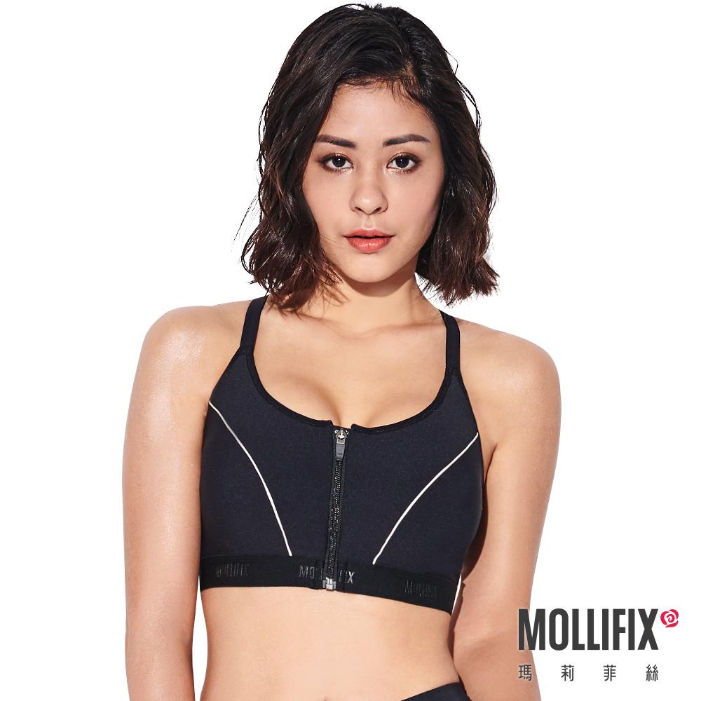 Mollifix 瑪莉菲絲 前扣高穩定可調肩帶運動內衣 (黑)