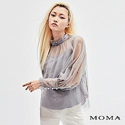 MOMA 小立領珠飾公主袖上衣