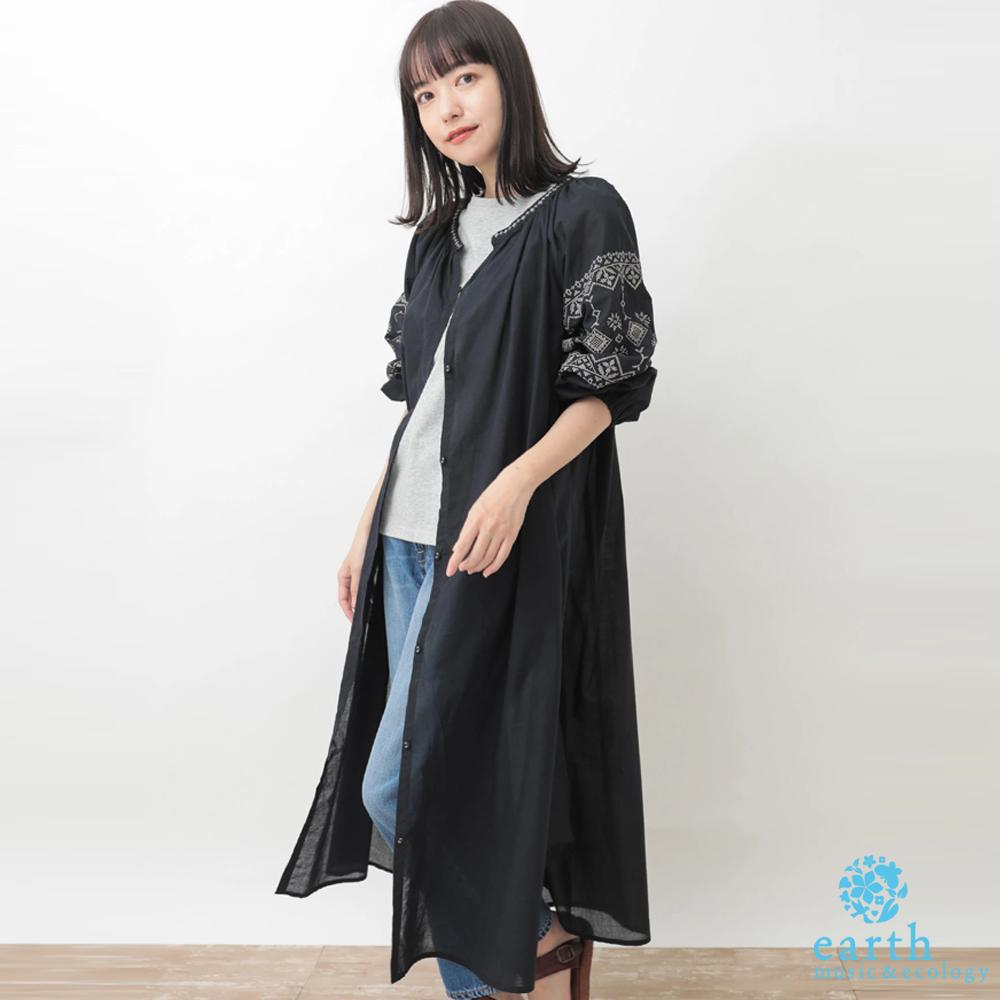 earth music 袖刺繡圖案棉質連身洋裝/罩衫