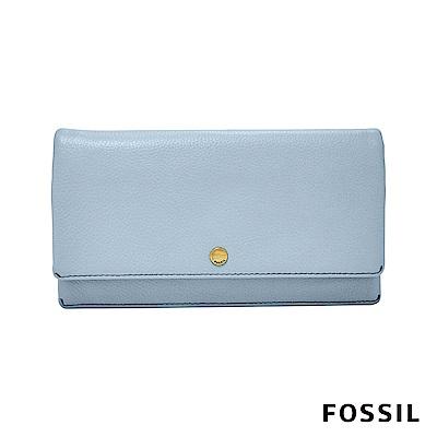 FOSSIL AUBREY金釦設計多功能零錢長夾-粉藍色