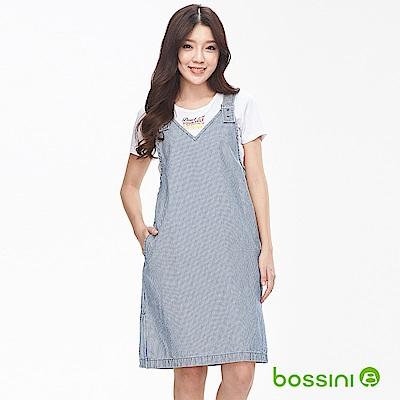 bossini女裝-丹寧背心吊帶裙淡藍