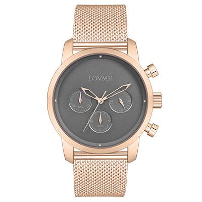 LOVME Stardust米蘭帶款時尚手錶-IP玫x灰/43mm