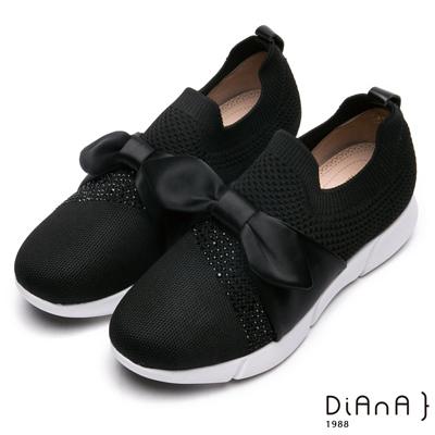 DIANA 漫步雲端厚切焦糖美人-輕量大蝴蝶結水鑽飾休閒鞋-黑