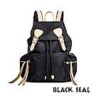 BLACK SEAL 休閒雙扣細尼龍軍旅後背包- 卡其黑 BS83111