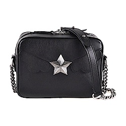 les jeunes etoiles義大利品牌 復古銀色星星真皮相機包小方包 黑色