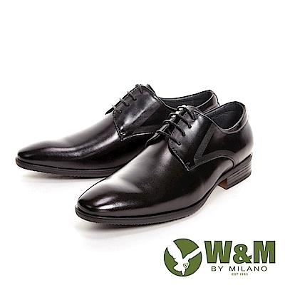 W&M亮皮簡約刷紋紳士綁帶男皮鞋-黑