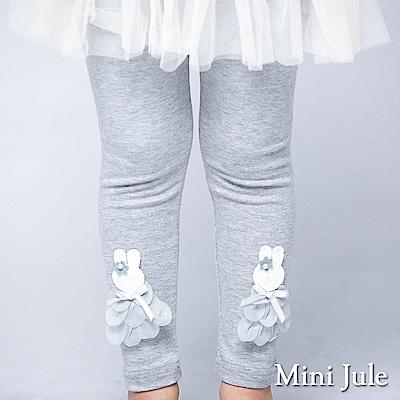 Mini Jule 內搭褲 立體兔子珠珠蝴蝶結棉質內搭褲(花灰)