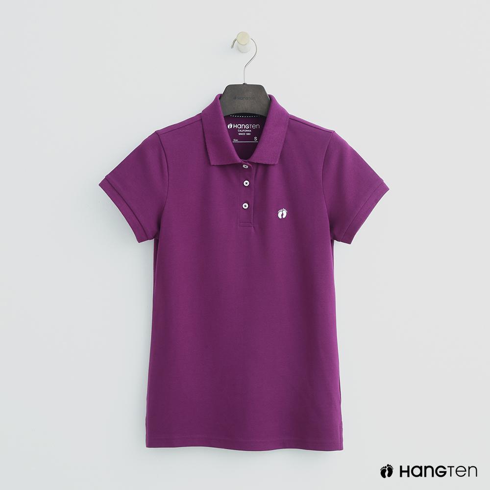 Hang Ten - 女裝 -簡約素面POLO杉 - 紫