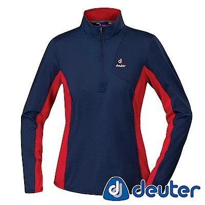 【ATUNAS 歐都納】德國DEUTER保暖長袖女拉鍊衫DE-P1504W深藍紅
