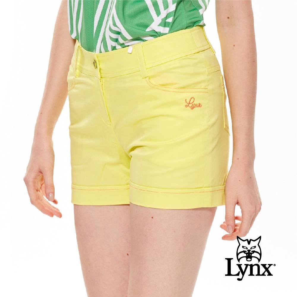 【Lynx Golf】女款素色褲口反摺款後袋Lynx 71繡花休閒短褲-黃色
