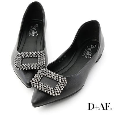 D+AF 華麗氣息.方形鑽飾尖頭平底鞋*黑