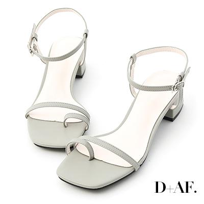 D+AF 繽紛涼夏.一字套指細帶中跟涼鞋*綠