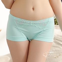 內褲  蕾絲透氣蠶絲小褲-綠 La Queen