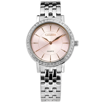 CITIZEN 優雅晶鑽鑲圈日本機芯不鏽鋼(EL3041-87X)手錶-粉色/31mm