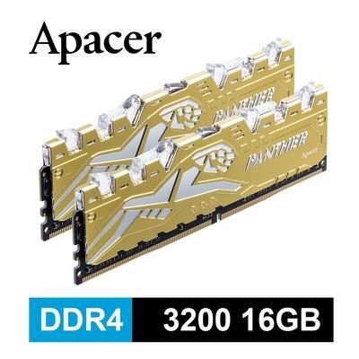 Apacer Panther Rage 金豹 DDR4 3200 16G 桌上型RGB發光電競記憶體(8GBx2)