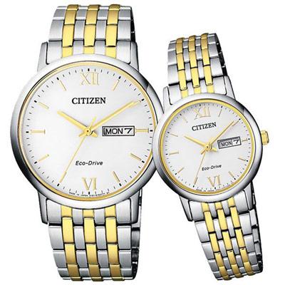 CITIZEN Eco-Drive 沉穩簡約星日期對錶-鋼帶金-37+27mm