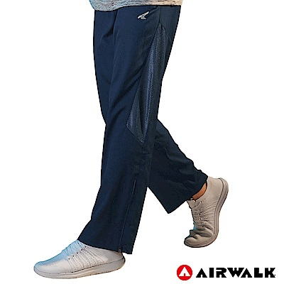 【AIRWALK】男款拼接風衣長褲-藍