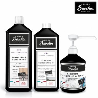 Maison Briochin 黑牌碧歐馨 清潔達人加冕組合-護手洗碗精+濃縮黑皂液+多效清潔醋