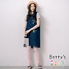 betty's貝蒂思 開襟雪紡外罩+素面長版上衣(深藍)