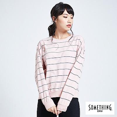 SOMETHING 亞維儂 百搭條紋寬版長袖T恤-女-粉色