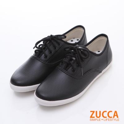 ZUCCA-雅痞風紋軟皮繫帶休閒鞋-白-z5827we