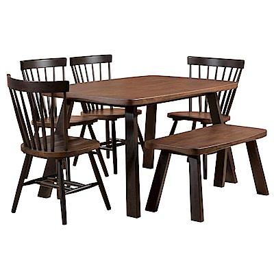 AS-Page胡桃4.5尺餐桌椅組-138x85x75cm(一桌四椅一凳)