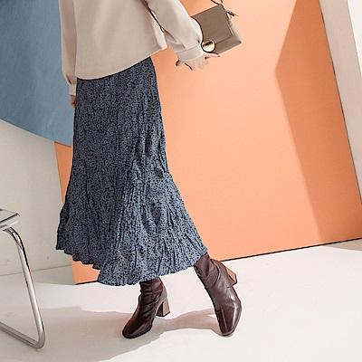 質感紋理豹紋印花壓褶皺皺布後鬆緊中長裙-OB嚴選