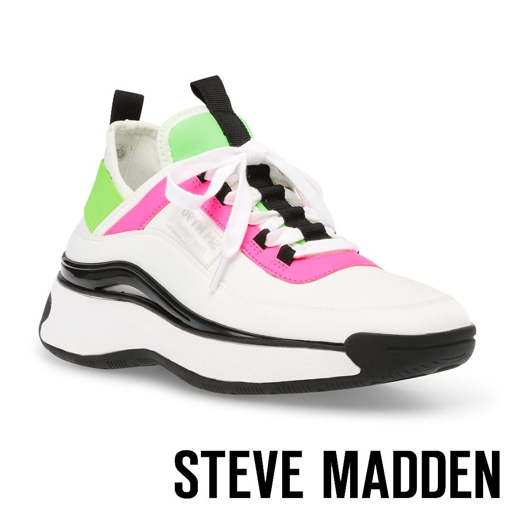 STEVE MADDEN-CALIBRE 拼接厚底增高運動休閒鞋-粉白色