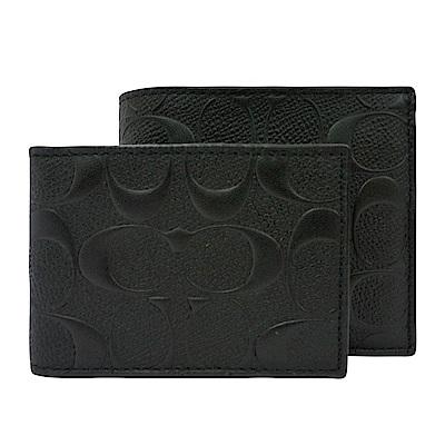 COACH 浮雕滿版 C LOGO PVC可拆式對折10卡短夾(黑)