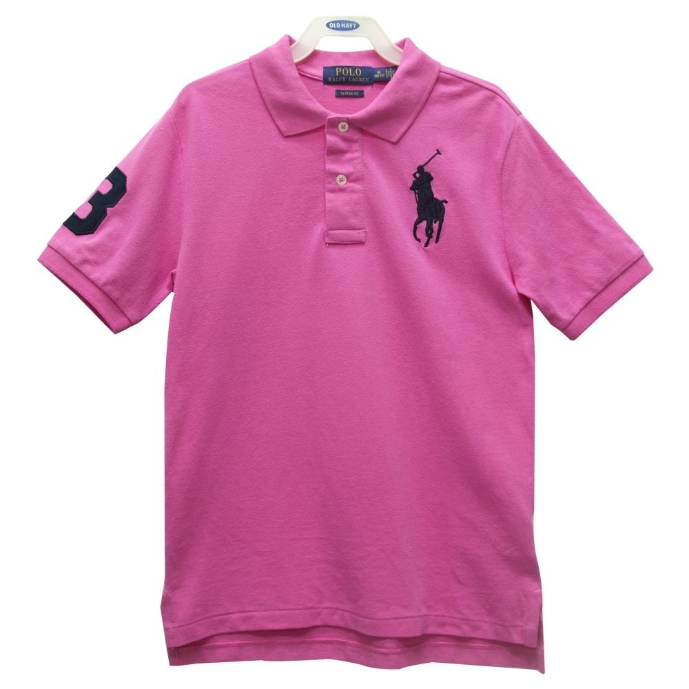 Ralph Lauren 大童刺繡數字3經典大馬短袖POLO衫-粉紅色
