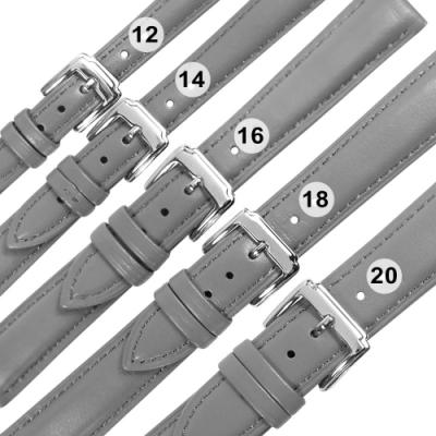 Watchband /各品牌通用 經典色系 真皮錶帶 不鏽鋼扣頭-灰色