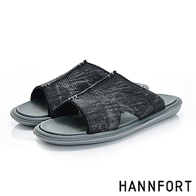 HANNFORT COZY可機洗帆布氣墊拖鞋-男-迷霧黑