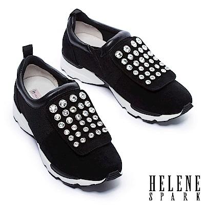 休閒鞋 HELENE SPARK 摩登時尚白鑽設計異材質拼接厚底休閒鞋-黑