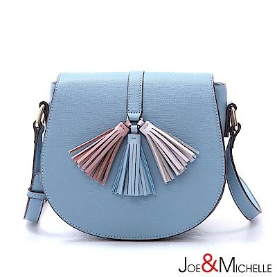J&M 真皮蘿莉塔浪漫流蘇馬鞍包 清新藍