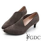 GDC-時尚小姐姐不規則剪裁素色基本尖頭低跟鞋-灰色