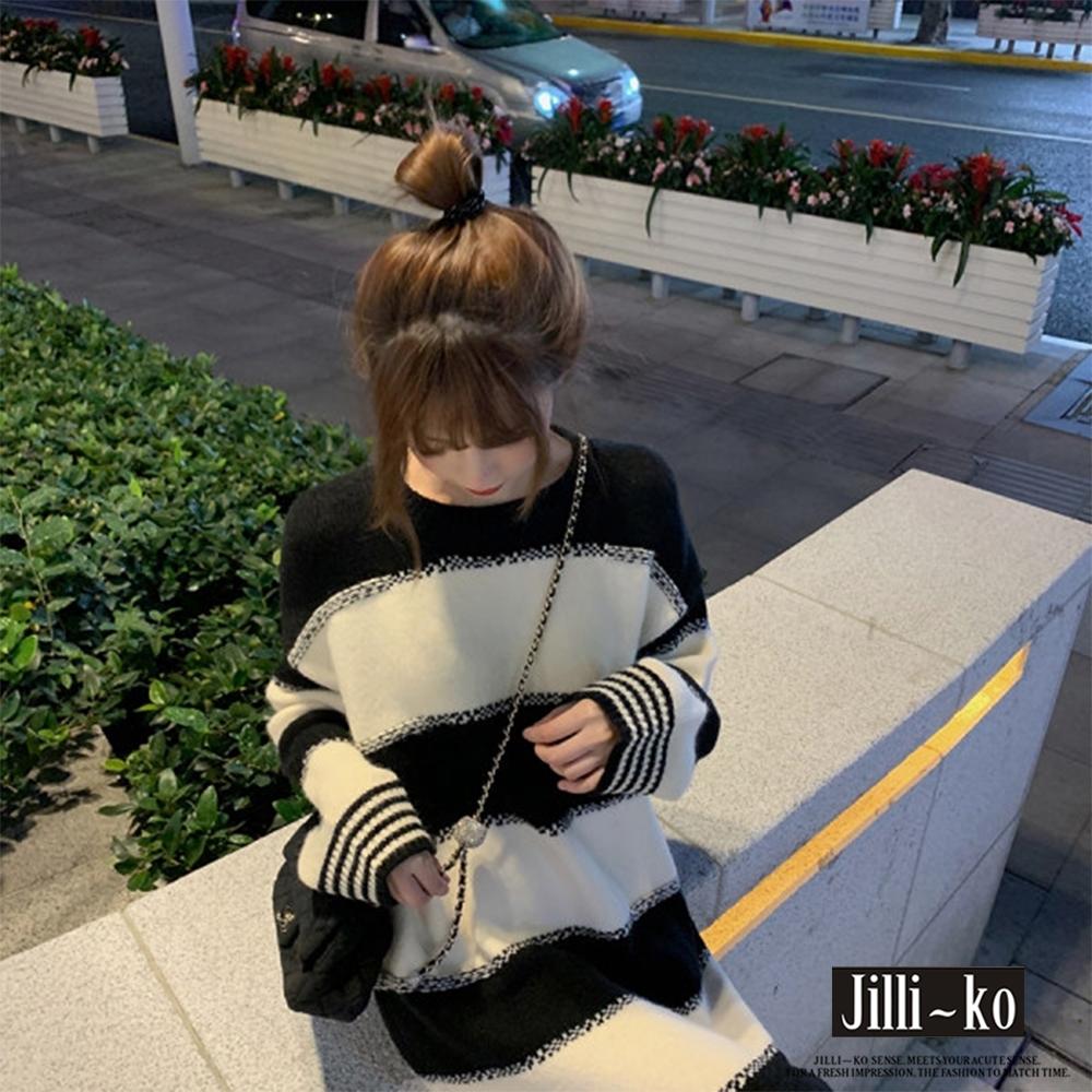 JILLI-KO 黑白拚色針織連衣裙- 黑色