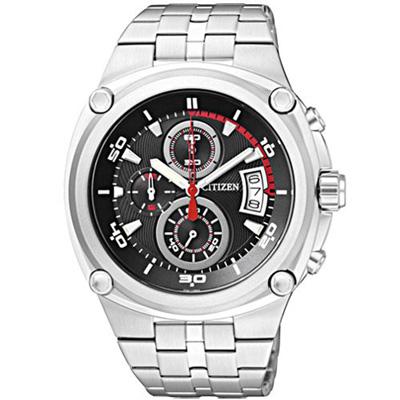 CITIZEN 速霸快車手三環計時腕錶-黑-43mm