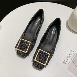 KEITH-WILL時尚鞋館 氣質格紋優雅粗跟鞋-黑