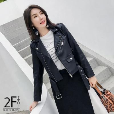 2F韓衣-拉鍊造型下擺鬆緊夾克